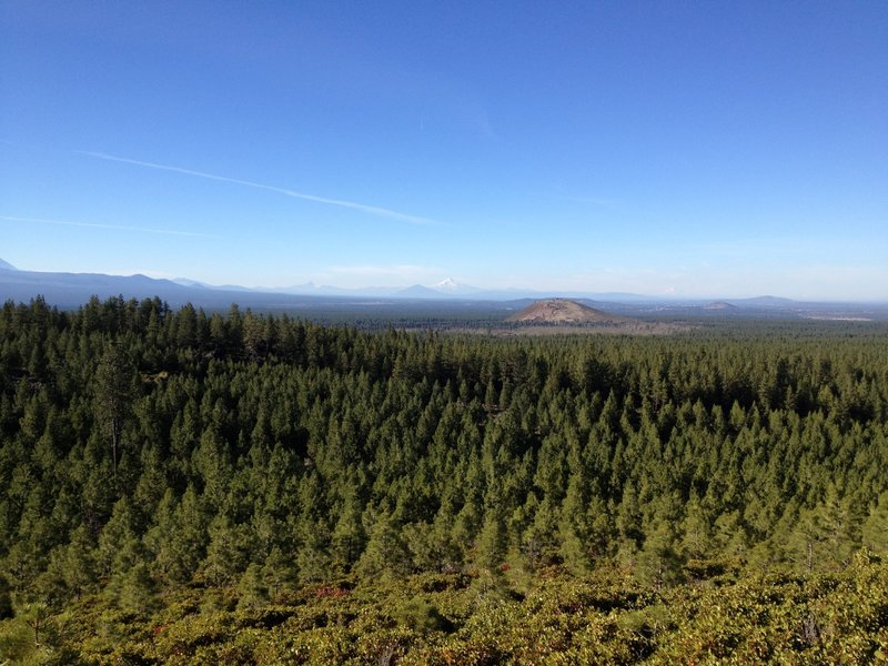 Horse Butte ahead, Black Butte, Mt Jefferson and Mt Hood in the far distance
