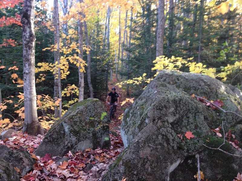 Splitting the rocks on Ten Times Trail.