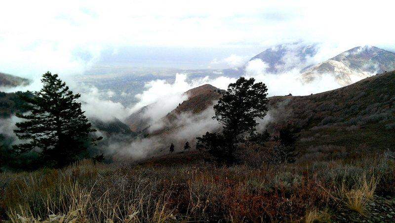 Clouds rolling in on Lewis Peak.