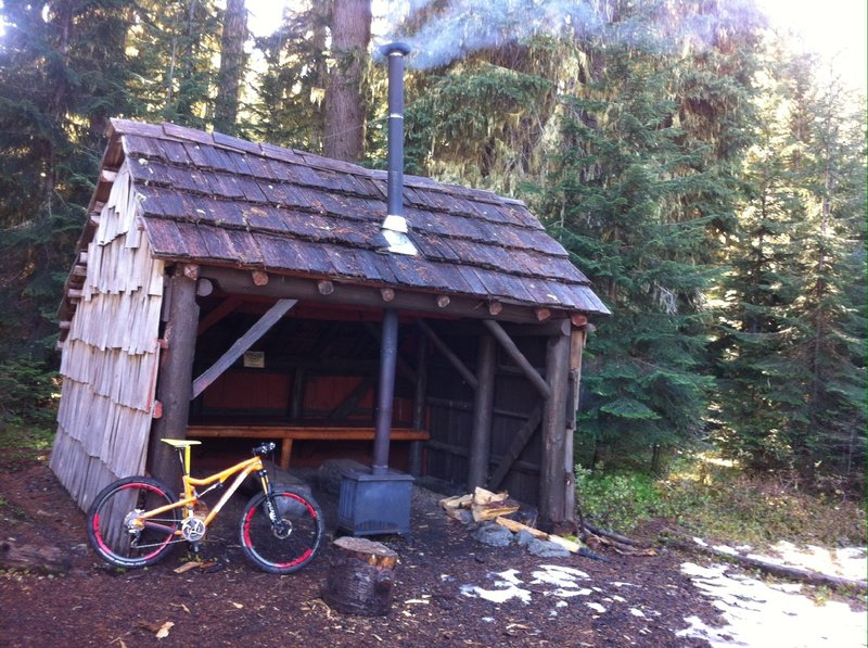 Warming hut on Waldo's south side. No wood piles yet for winter use.