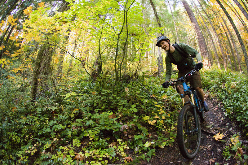 All smiles on the downhill section of Cloverpatch