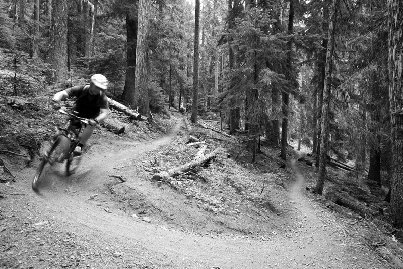 Ripping up the first of many switchbacks along the Ranger Creek Trail.