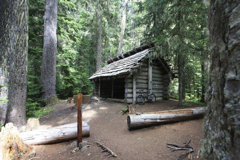 Taking a short rest at the Ranger Creek Shelter.
