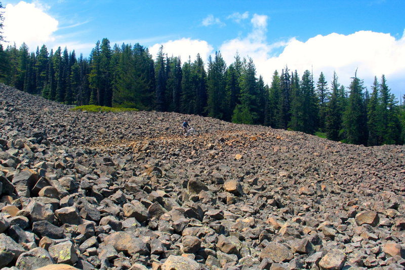 It's slow going as you negotiate the large scree field along the initial section of trail.