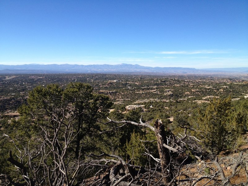 Great views across north side of Santa Fe and the Jemez Mountains to the west.