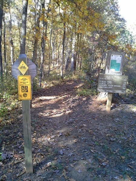 The North Trail, Long Bridge and Pigeon Roost Rd Trailhead.