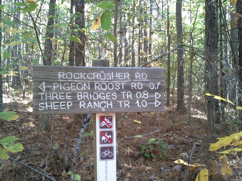 Signage at the Rockcrusher Rd and Lost Cemetery Trailhead
