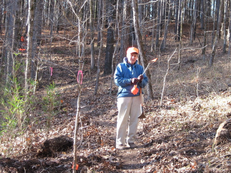 Charlotte Fuquay AKA CF at work during a workday on a reroute along the Lost Cemetery Rd. Charlotte is the reason the Noxubee Hills Trails System exists, due to her thousands of hours of trail maintenance and lobbying with the USFS, local bicycle clubs, county and city officials and IMBA.