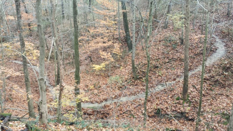 After a climb, a look back across a ravine to the trail I had ridden a few moments before.