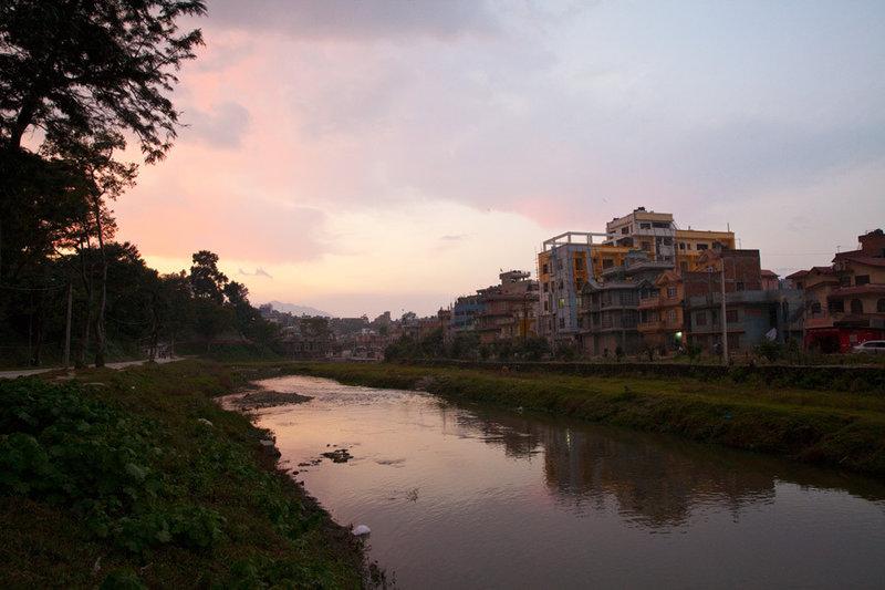 On the outskirts of Kathmandu at sunset. Near Guhyeshwori Temple.
