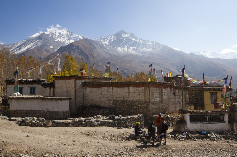 A brief stop in the village of Jhong before the descent continues on the Muktinath - Kagbeni ride.