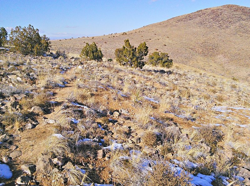 Trail between north and south peaks is rough but not excessively steep