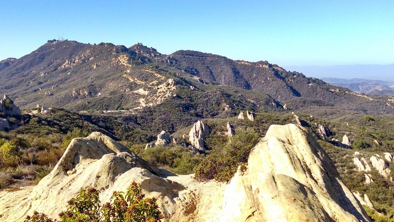Looking up at the Castro Crest from the Corral Canyon rock slabs
