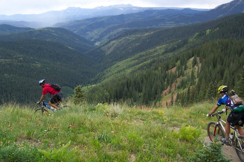 Mark and Chris descend Blackhawk on Colorado trail toward Bolam Pass