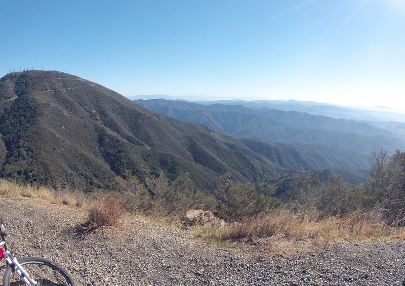 Standing just below Modjeska Peak looking south and east across the meat of the Santa Ana Mountains towards San Diego is Santiago Peak, the highest peak in the Santa Ana's on the far left.