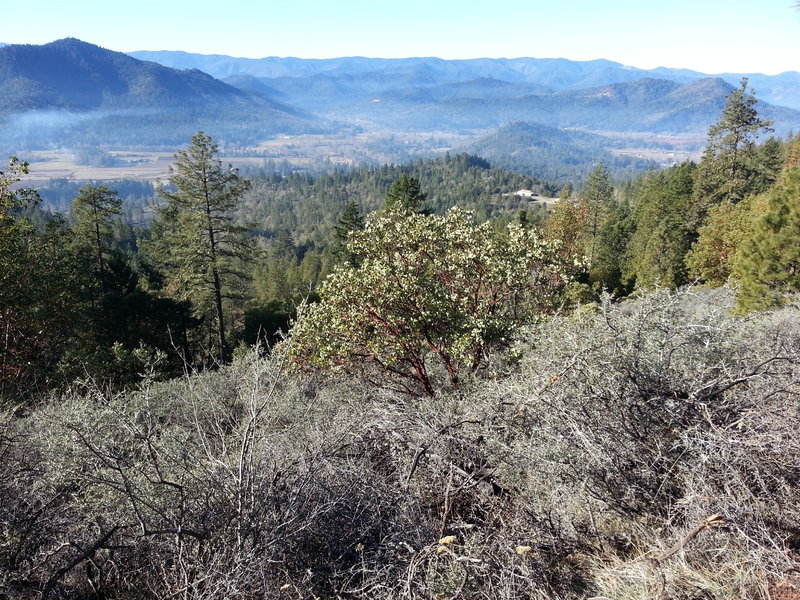 The view from the western face of Bolt Mt. From here you can see the bridge (currently under construction) crossing the Applegate River and allowing access to Redwood country.