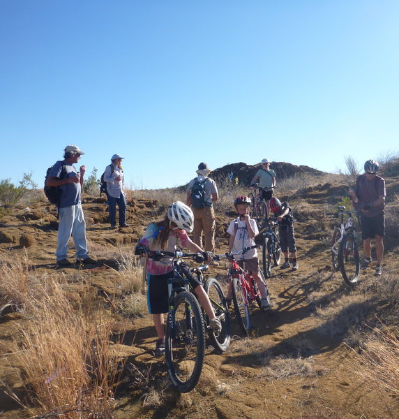 First ride on the new trail with the local kids.