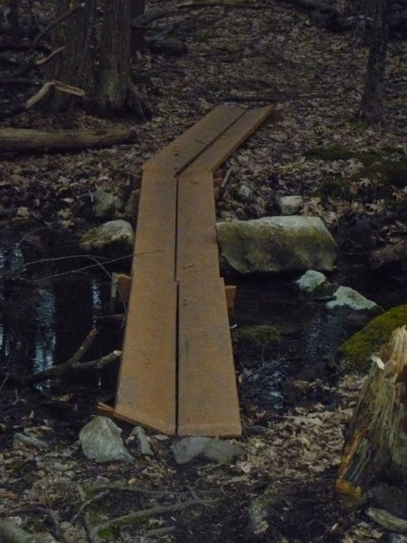 """These """"teter-totter"""" bridges are a lot of fun to ride, but get the approch right or you'll end up in the mud."""