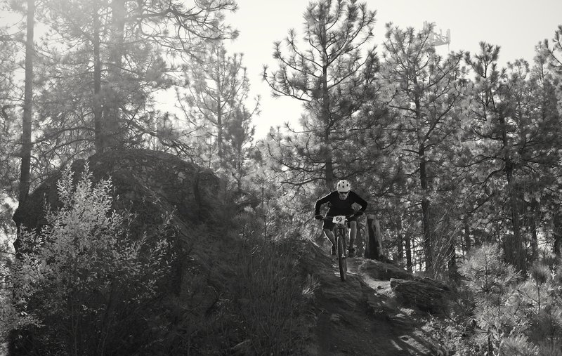 Blasting through the rock garden section during the King of Beacon mountain bike stage race.