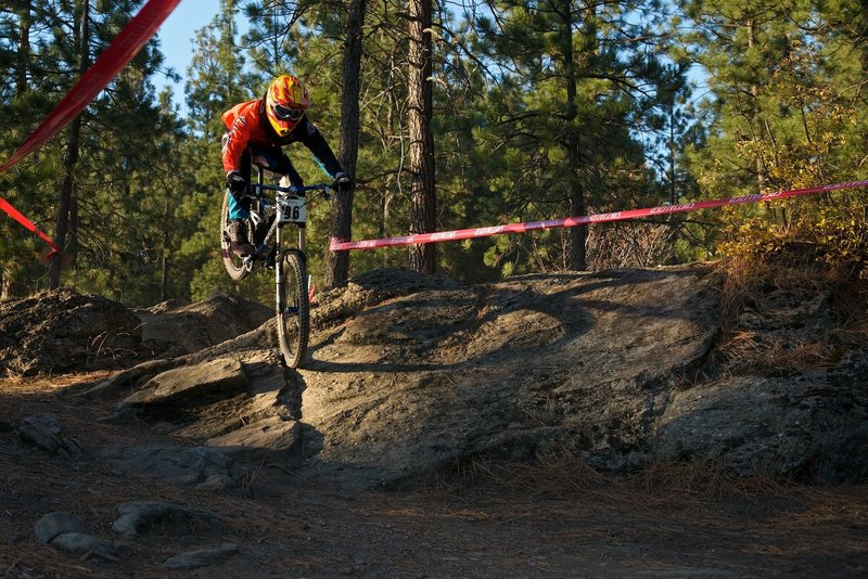 Soaring above the rocks during a practice run for the All Gravity Series race.