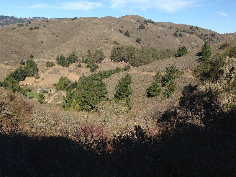 Looking back down over the starting point at Green Gulch Zen Center after a steady climb.