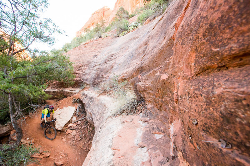 Riding through and endless seem of overhanging slickrock - the feature that gives this trail its name.
