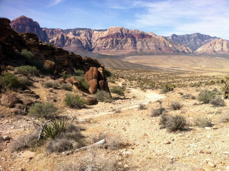 Looking back at Bunny Trail entering Fossil Canyon. Beautiful view of the mountains in Red Rock Canyon NCA.