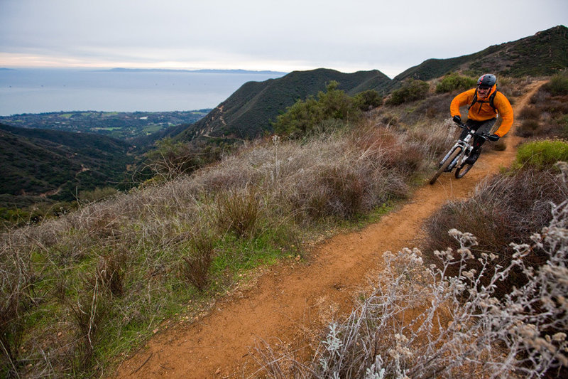 Riding across the ridge towards the top of the Romero singletrack