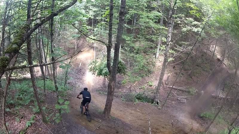Looking down on Sidewinder trail. @ Kingdom trails.