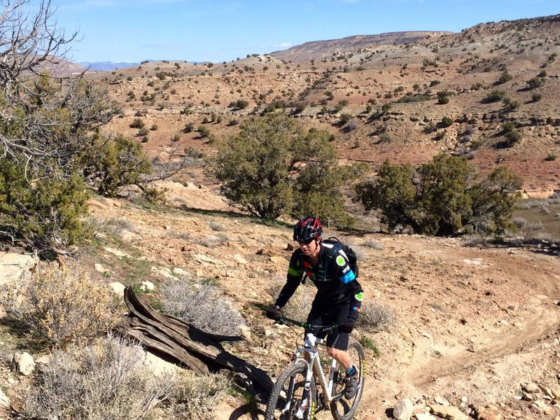 Cranking up one of the many small hills of Rabbit Valley 3