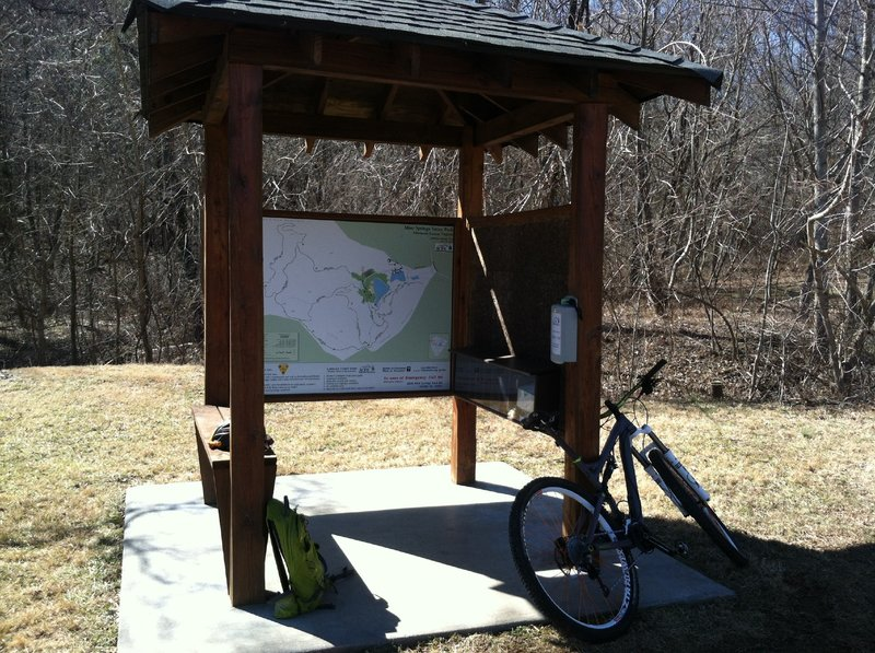 TrailHead of Mint Springs Loop. At this Kiosk there are trail maps and a big map of the park.