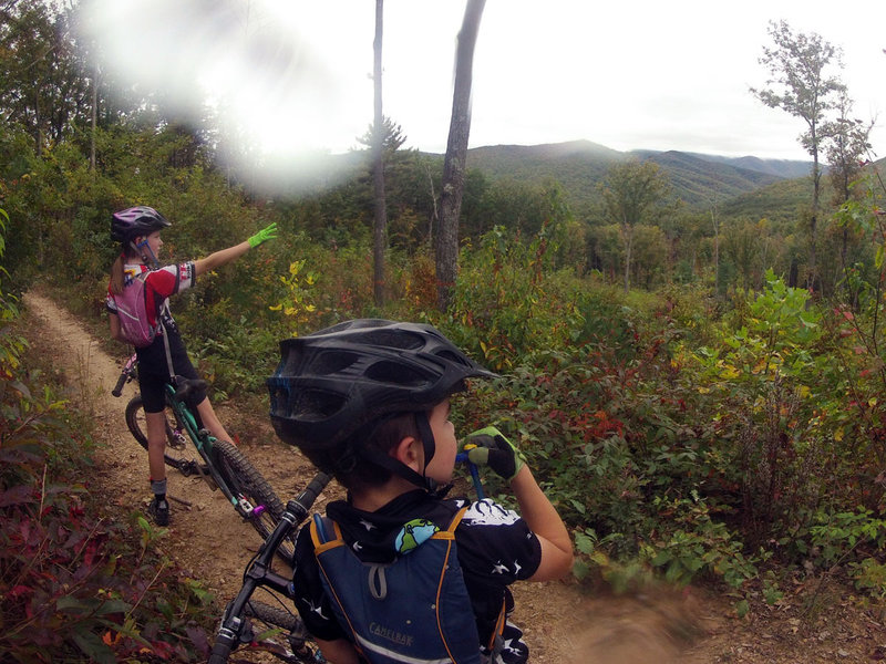 Henry (8) and Ruth Brown (10) enjoying the view to the west on Tillman West Trail at IMBA Fallfest.