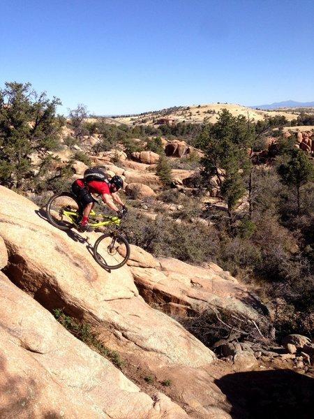 Oryan riding a rock slab