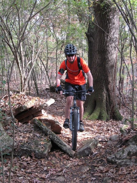 Taylor hitting the concrete on the Death by Concrete Trail