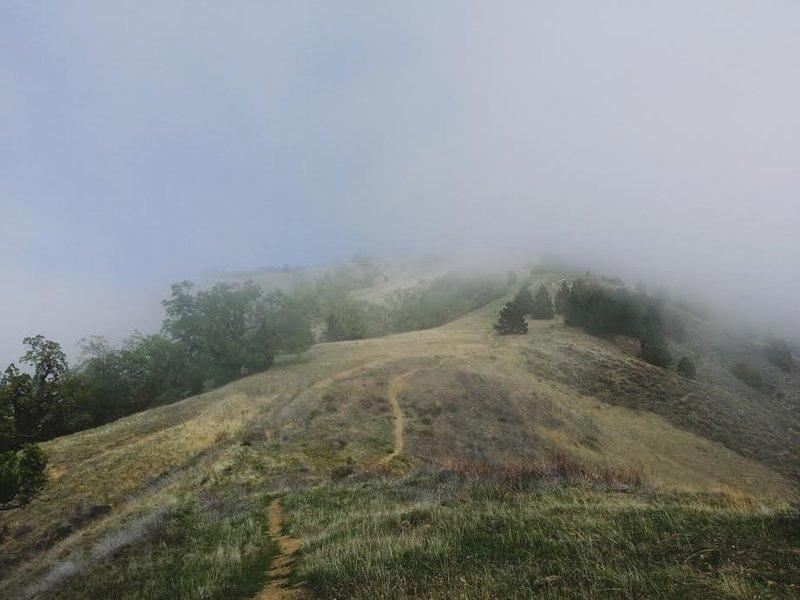 Fog breaking up towards the summit