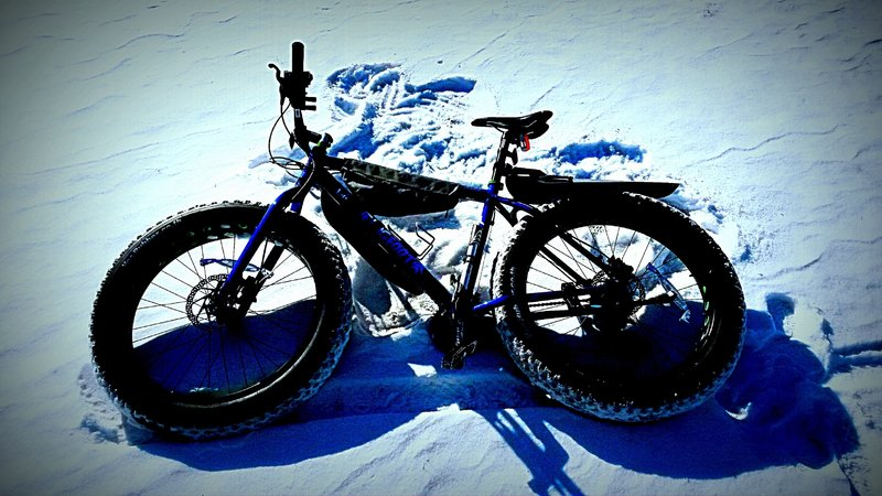 The impression left after a crash on a snowy trail near Pemberton Historical Park.