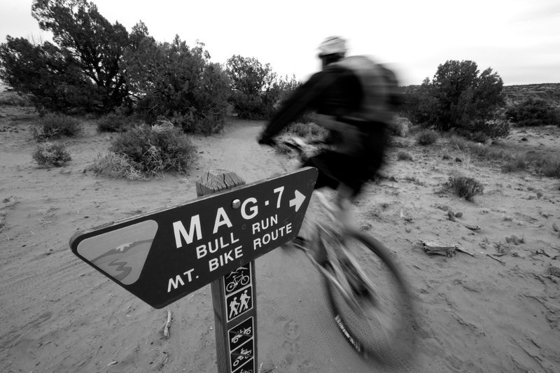 Ripping along the first segment of the famed Mag 7 ride, Bull Run.