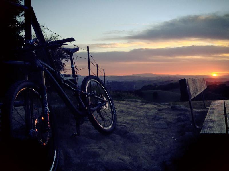 Sunset at bench ride trail