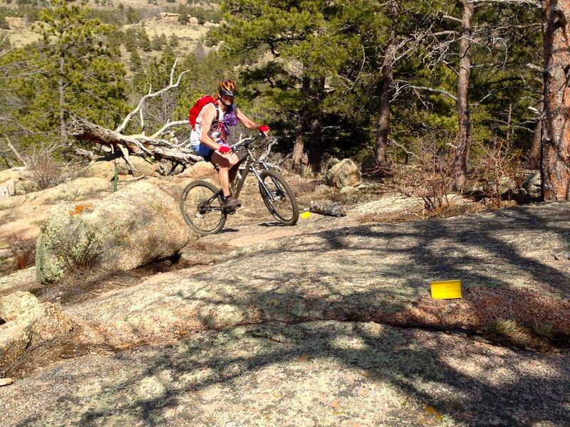 Yellow markers keep you on track as you climb demanding rocky terrain.  Challenging but rideable!