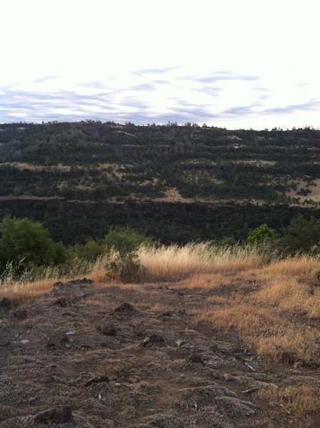 looking across the canyon to the bottom of Bloody Pin Trail