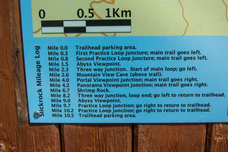 Mileage highlights listed on the sign in the parking lot.