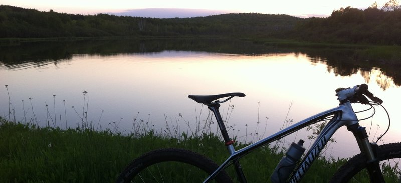 An evening view passing by Hartley Pond, on the way out to the Outer Loop.
