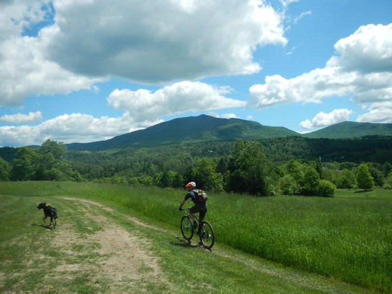 Heading back to the Burke Bike Barn after finishing the loop. View of Burke Mtn.