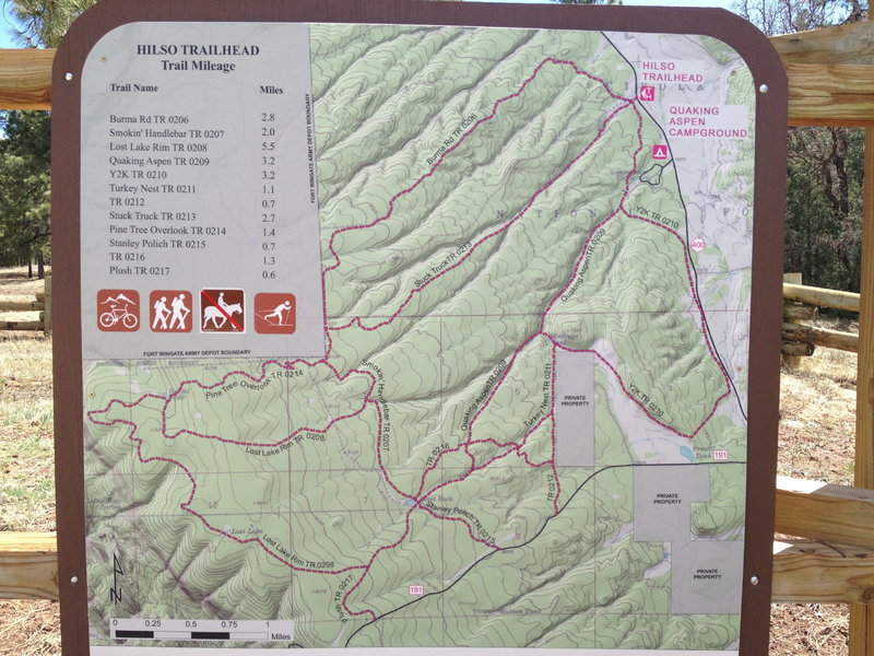 Trailhead map, confusing because as you stand there it is upside-down to the direction you are facing.