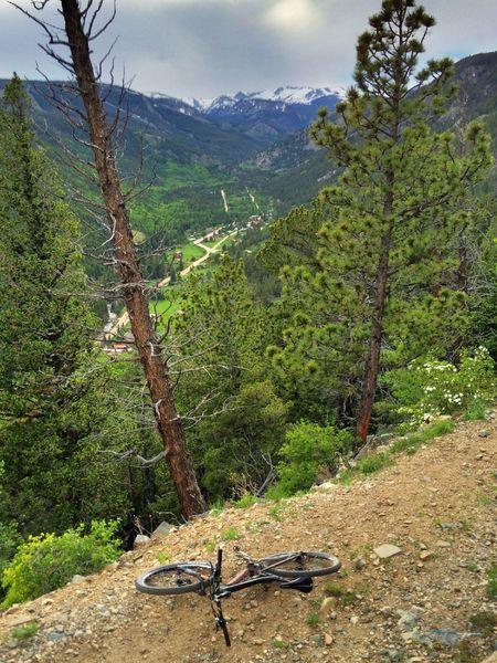 The cute little hamlet of Eldora, with the big Indian Peaks behind.