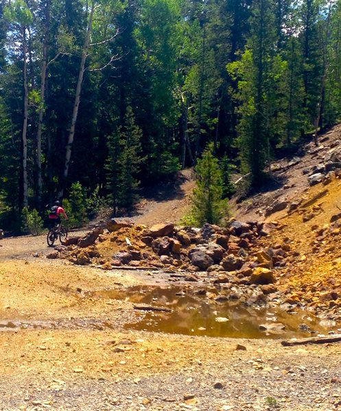 Riding through old mine tailings.