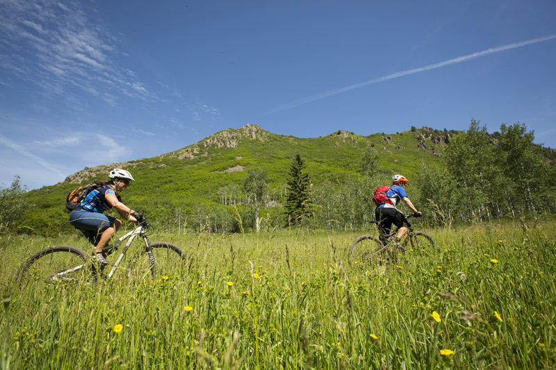 Pedaling through open meadows up the Mad Creek valley