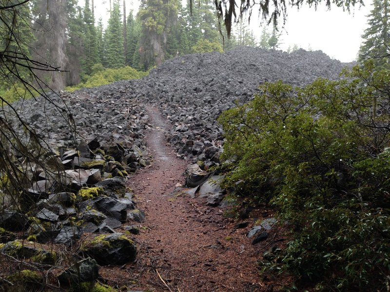 A lot of work created the trail through the lava on the west side of Brown Mountain