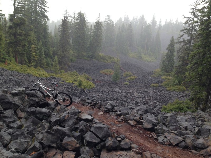 Brown Mountain Trail through lava on the west side of the mountain