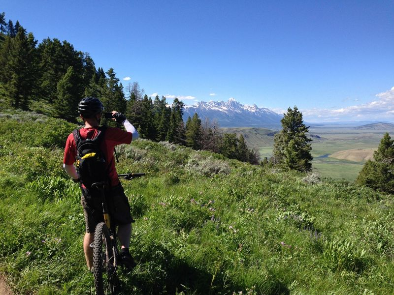 Gorgeous views north to the Tetons at the meadow right below the saddle. Nice reward for a stout climb!